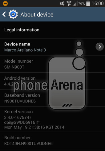 Screenshots showing the new update for the T-Mobile Samsung Galaxy Note 3