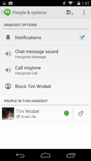 Hangouts for Android now allows you to set custom ringtones and notification sounds