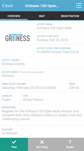 Gritness app for Android finds group fitness activities around you, or lets you create your own