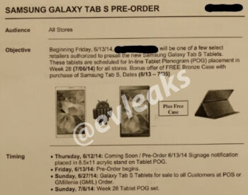 Samsung's Galaxy Tab S AMOLED slates to be launched in late June?