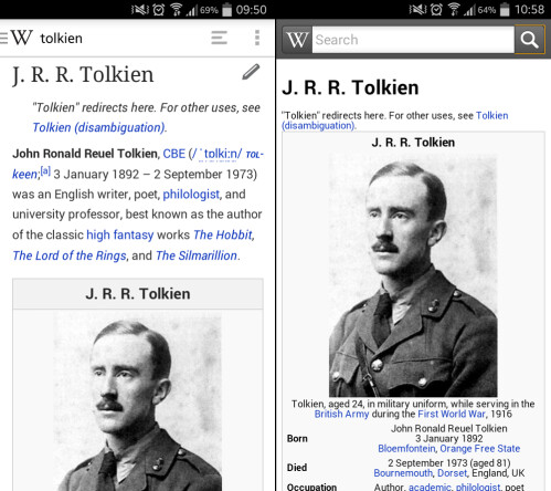 Wikipedia Beta on the left; Wikipedia on the right