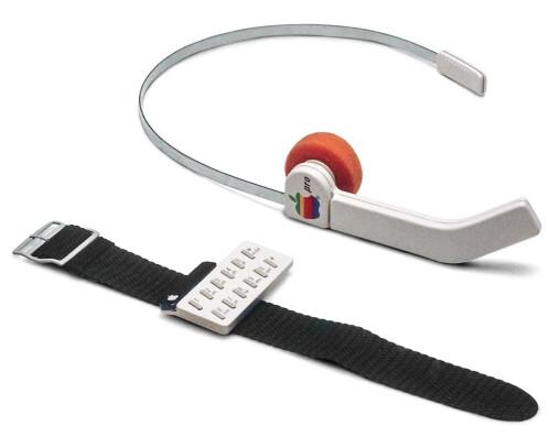 A prototype Apple wrist-and-headset phone