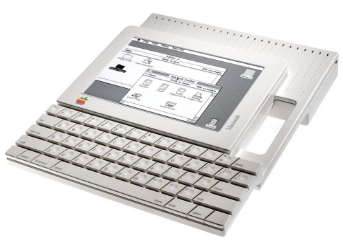 This appears to be a prototype of a portable, tablet-like Mac.