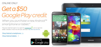 Buy an Android phone or tablet online from AT&T through July 17th, and get a $50 Google Play credit