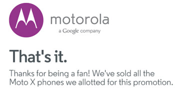 Motorola sells out of the Moto X units put aside for its promotion
