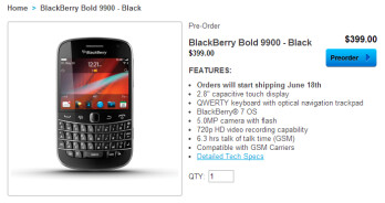 The BlackBerry Bold 9900 can be pre-ordered once again