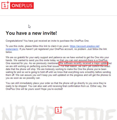 Letter from oneplus warns about a delay in the oneplus one launch image stopboris Image collections