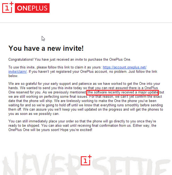 Oneplus one launch is delayed due to last minute software update letter from oneplus warns about a delay in the oneplus one launch due to a last stopboris Images