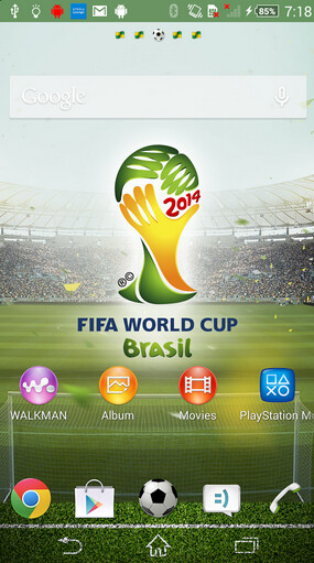 Images from the Sony Xperia FIFA World Cup theme, available from the Google Play Store