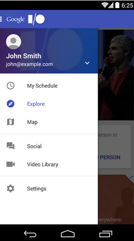 Screenshots from Google I/O 2014 app
