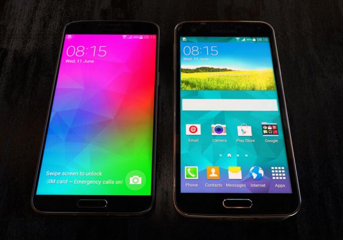 Metal Samsung Galaxy F gets snapped next to the Galaxy S5, boasts LG G3-like slim bezels
