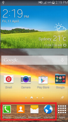 From the Samsung Galaxy S III up until now, the TouchWiz dock was fixed in Australia