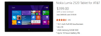 Buy the Nokia Lumia 2520 from the Microsoft Store and save $100
