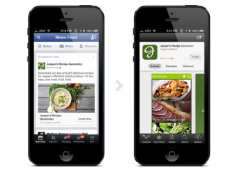 With Facebook's mobile app ads, a click on a sponsored post takes the user right to the app's install screen on the App Store or Google Play Store