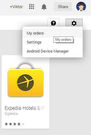 Go into Settings -> My Order on the Google Play Store on your computer