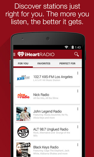 Android users of iHeartRadio will receive station recommendations based on their listening habits