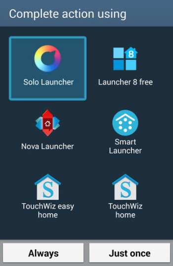 Selecting a launcher in TouchWiz