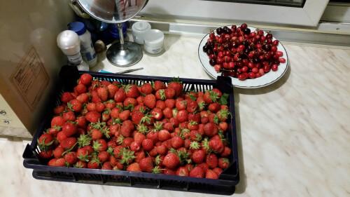 Homegrown strawberries and cherries