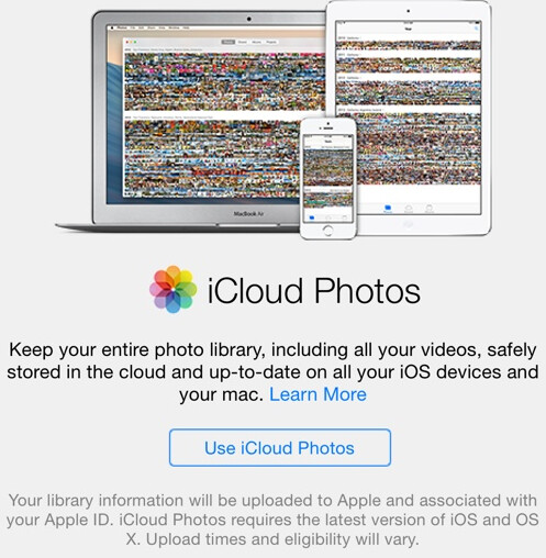 Open the camera app to see iCloud Photos