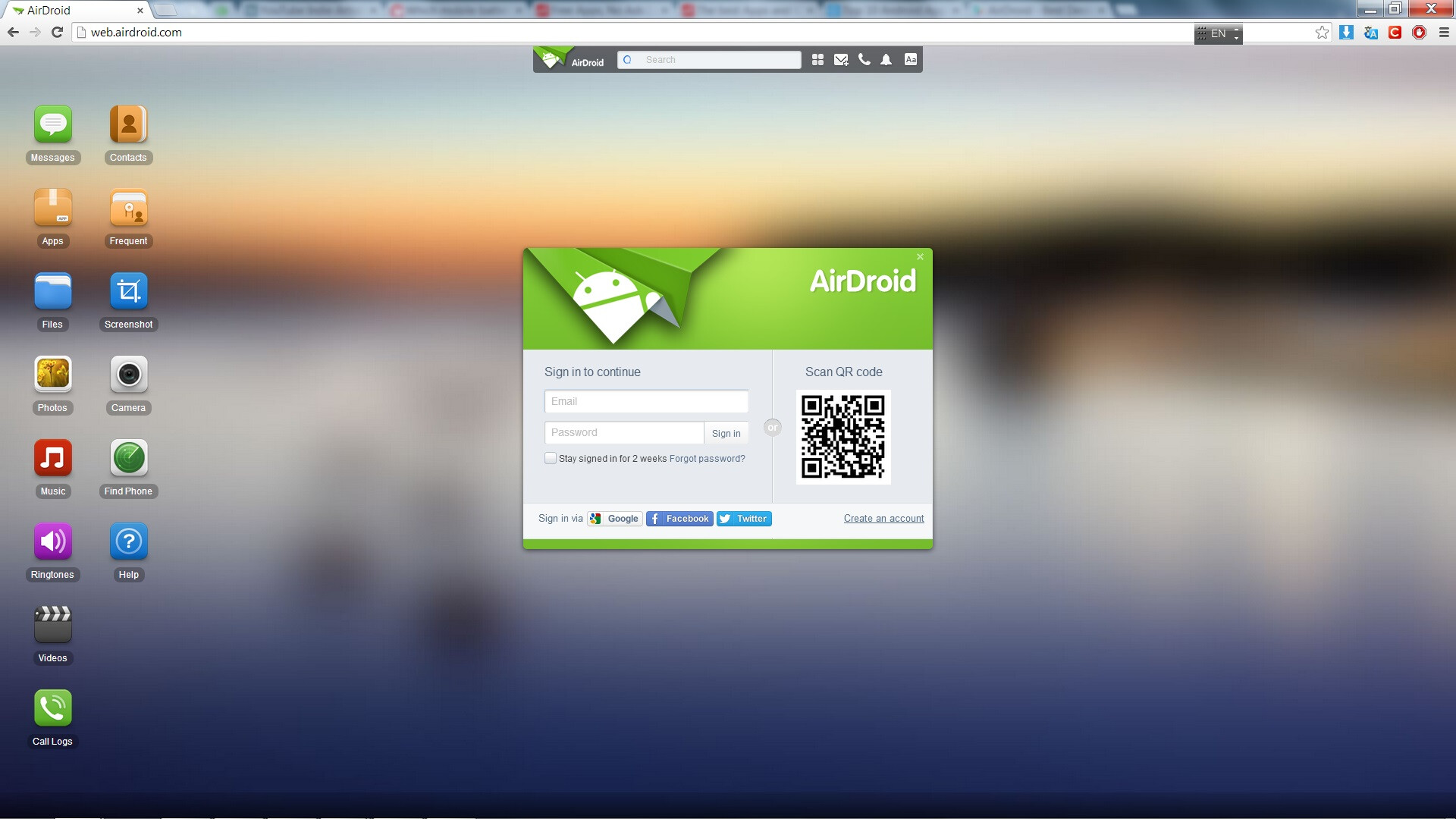 airdroid how to connect account to new phone