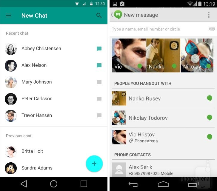 Google Hangouts, new chat
