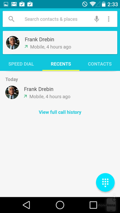 Dialer and contacts