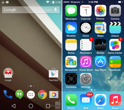 The Android L and iOS 8 home screens