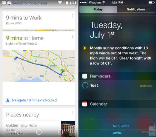 Android's Google Now vs the Today tab in iOS 8
