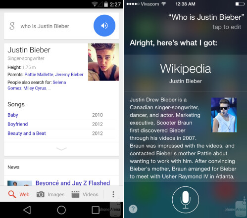 Search: Google Now vs Siri