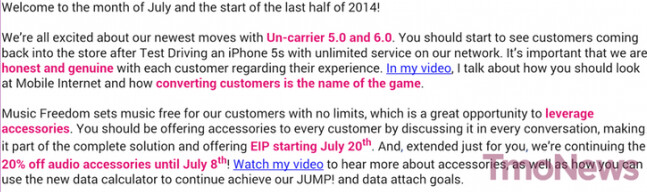 Leaked memo reveals that T-Mobile will offer EIP payment plans for accessories - Leaked memo: Starting July 20th, T-Mobile will offer EIP for accessory purchases