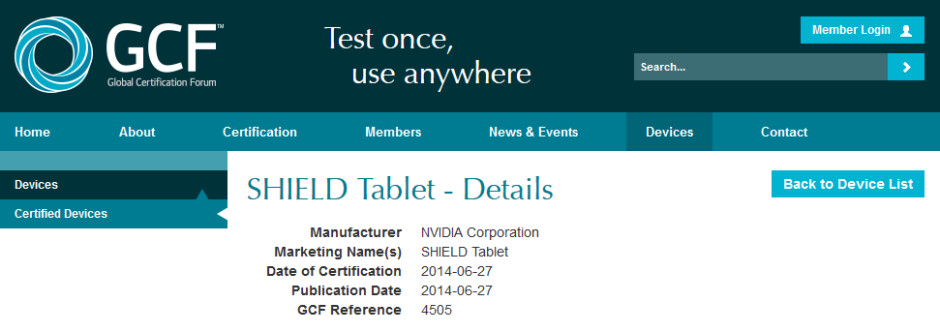 The NVIDIA SHIELD Tablet visits the GCF - NVIDIA to produce K1 powered SHIELD Tablet according to Global Certification Forum