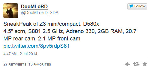 Tweet from DoomLoRD reveals purported specs of the Sony Xperia Z3 Compact - Sony Xperia Z3 Compact specs leak: Snapdragon 801 CPU, 20.7MP rear camera, Android 4.4.2