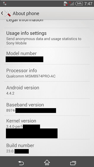 """Screenshot of the """"About"""" page, allegedly belonging to the Sony Xperia Z3 Compact - Sony Xperia Z3 Compact specs leak: Snapdragon 801 CPU, 20.7MP rear camera, Android 4.4.2"""