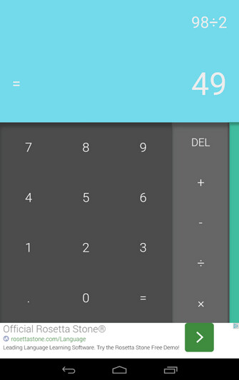 Screenshots of the Android L calculator