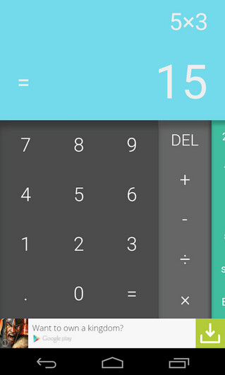 Screenshots of the Android L calculator - Android L calculator in Google Play Store helps things add up
