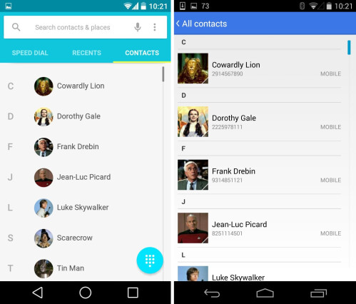 Contacts #2 (current Android L Preview)