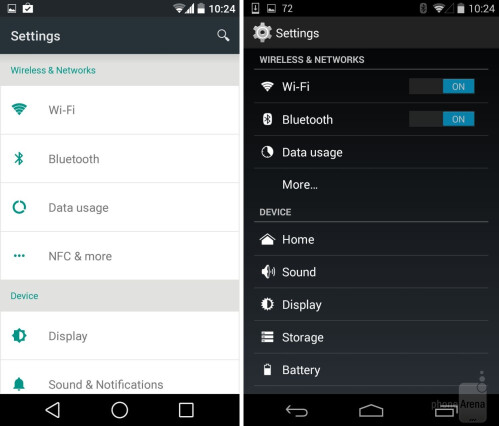Settings (current Android L Preview design)