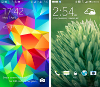 Galaxy S5 - left, One (M8) - right