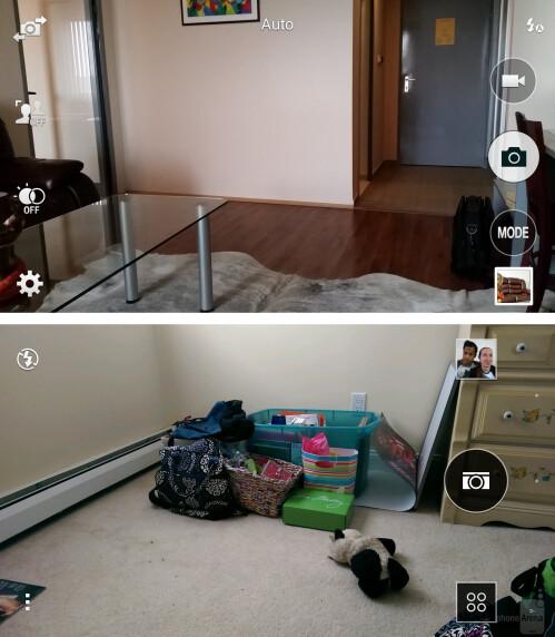 Camera UI - Galaxy S5 - top, One (M8) - bottom