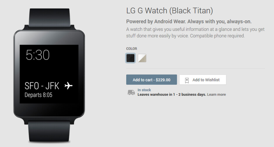 The LG G Watch has started shipping - LG G Watch ships on Wednesday, as promised
