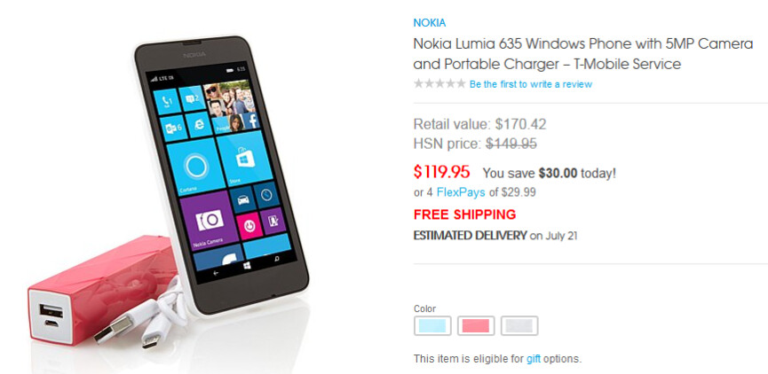 Buy the Nokia Lumia 635, bundled with a pair of chargers, for just $119.95 - HSN offering Nokia Lumia 635, bundled with chargers, for $119.95