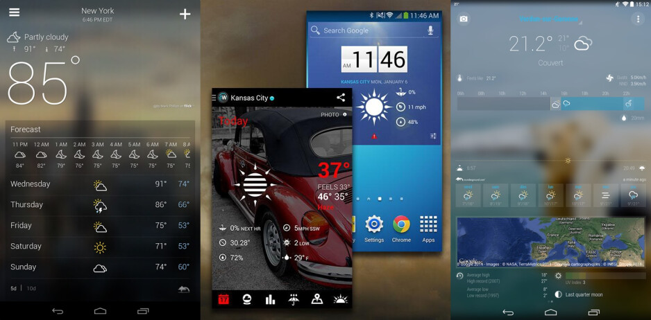 Three of our favorite Android weather apps, Yahoo Weather, 1Weather, and Bright Weather, from left to right - Best Android and iPhone weather apps (2015 edition)