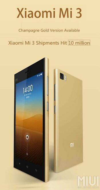 Xiaomi ships 10 million Mi3 smartphones, celebrates with a champagne gold version