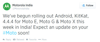 Motorola India reveals that Android 4.4.4 is being sent out to the Motorola Moto X, Moto G and Moto E