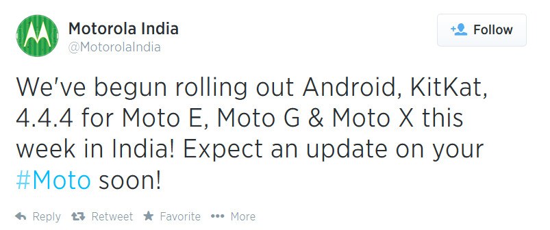 Motorola India reveals that Android 4.4.4 is being sent out to the Motorola Moto X, Moto G and Moto E - Motorola pushing out Android 4.4.4 in India, to a trio of Moto models