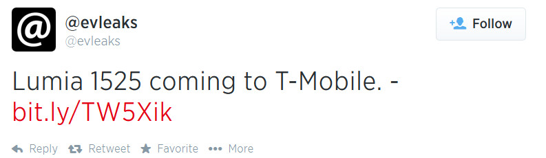 Evleaks  says that T-Mobile will be getting a version of the Nokia Lumia 1520 phablet - T-Mobile to get the Nokia Lumia 1525 phablet for its high-end Windows Phone customers?