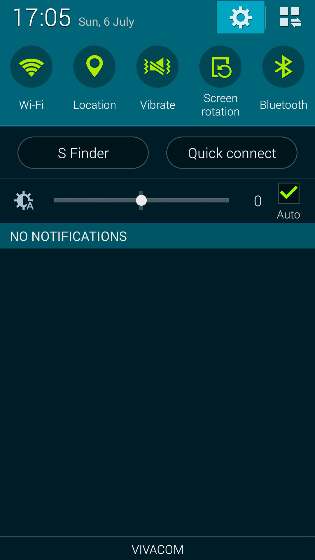 Swipe down from the top of your Galaxy S5 home screen to pull now the Notification dropdown, then Tap on the Settings icon in the top right