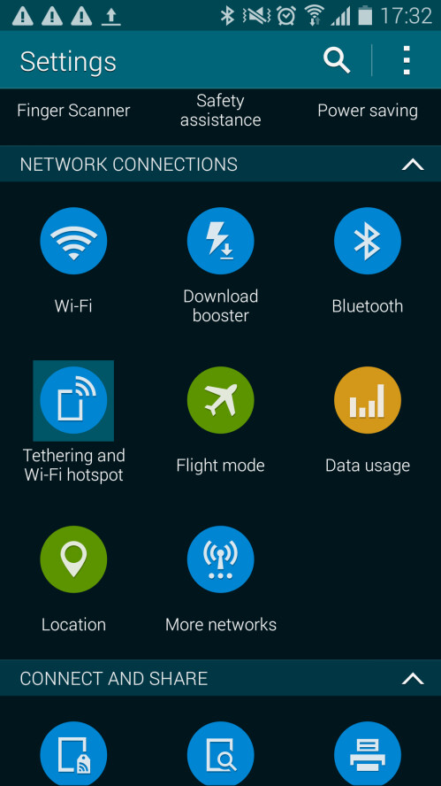 In the settings menu, scroll down to find Tethering and Wi-Fi hotspot (under the 'Connections' tab) and tap on it to select it