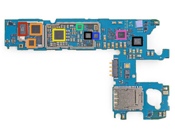 The accelerometer/gyroscope sensor inside the Samsung Galaxy S5, marked in blue