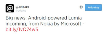 Android by Microsoft? Supposedly there is an Android powered Lumia in the works, will bear Nokia by Microsoft branding